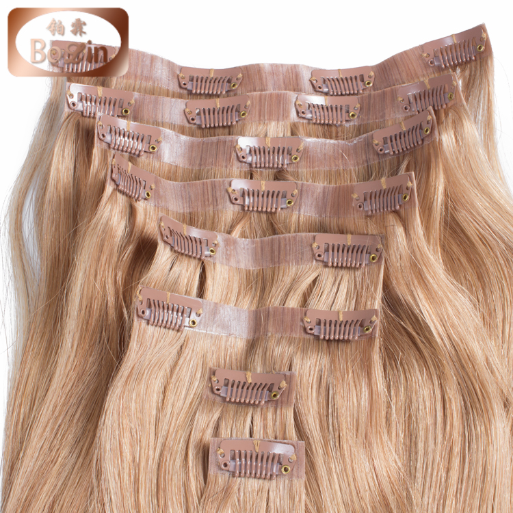 Wholesale unprocessed double drawn virgin Brazilian human hair skin weft clip in hair extension