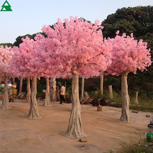 China artificial plastic indoor flower trees cherry peach pink blossoms for wedding decoration
