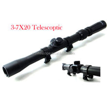 Hunting 3-7X20 Optics Cross Reticle Rifle Scope Sight with 20mm Rail Mount