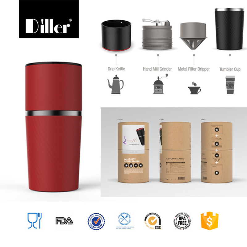 Portable Hand mill Grinder travelling necessary stainless steel french press coffee maker