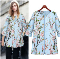 C26712A European Style Lady Printed High-end Long Coats