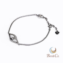 925 Silver Eye Shape Diamond Bracelet