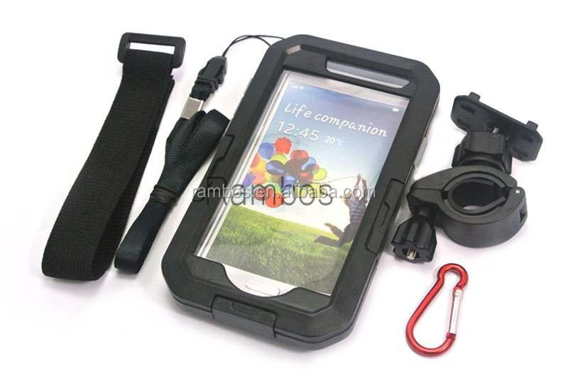 5 in 1Bike Motorcycle Waterproof case with Handlebar Mount Holder Stand Cover with Strap for Samsung S4 I9505