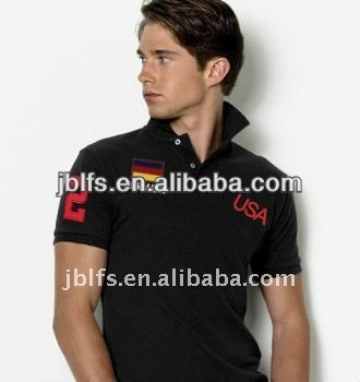 Promotional rib collar and rib sleeve pique cotton polo shirt for men
