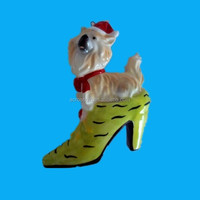 Funny shoes with dog ceramic christmas gift