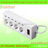 16A/4000W 5.9ft cord 4 Outlet 4320J Surge Protector Individual Switches Power Strip with 6 USB Charging Ports for Phone