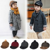 Cool pure colour woolen baby baseball cap