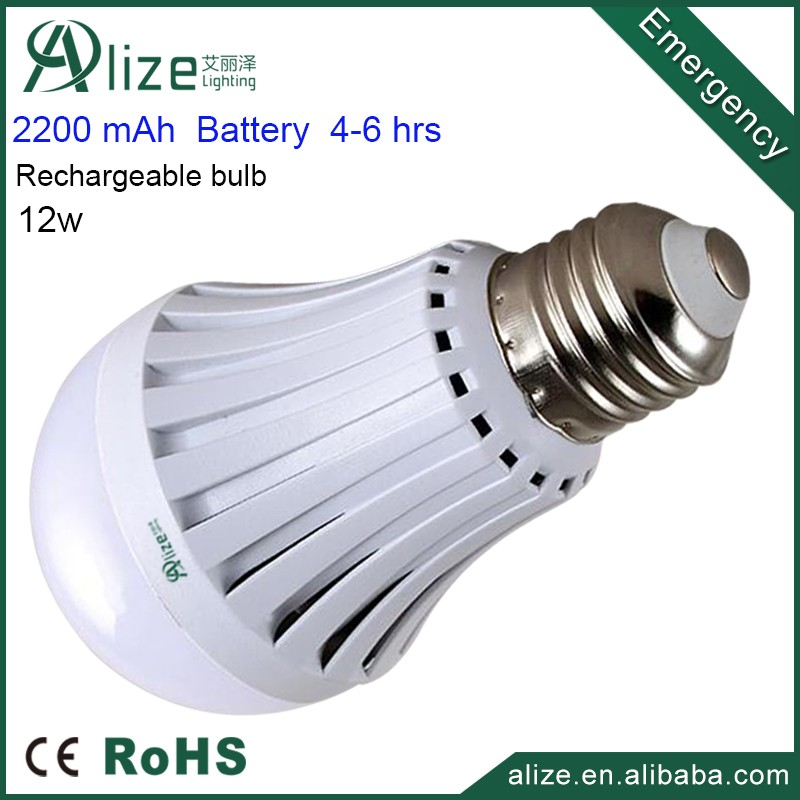 China plastic E27 12w rechargeable emergency light bulb led