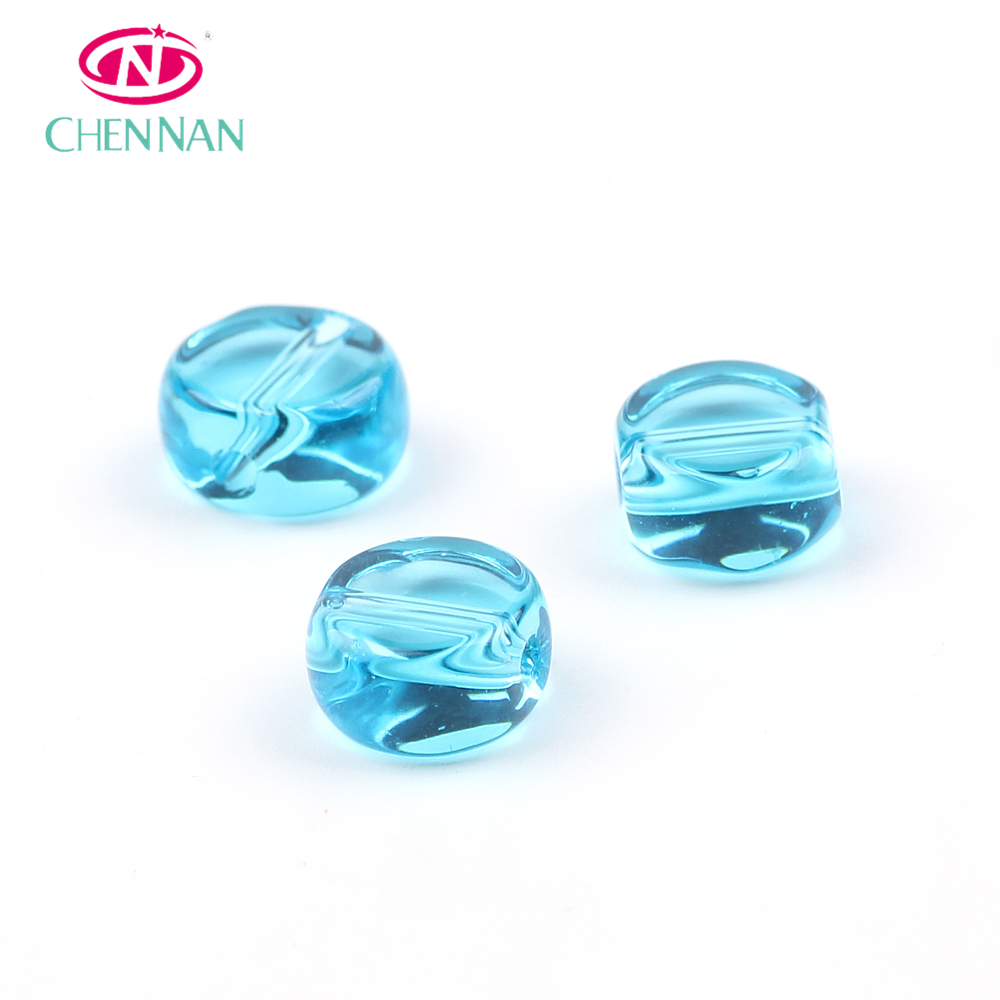 beads made in usa round double flat blue crystal glass beads