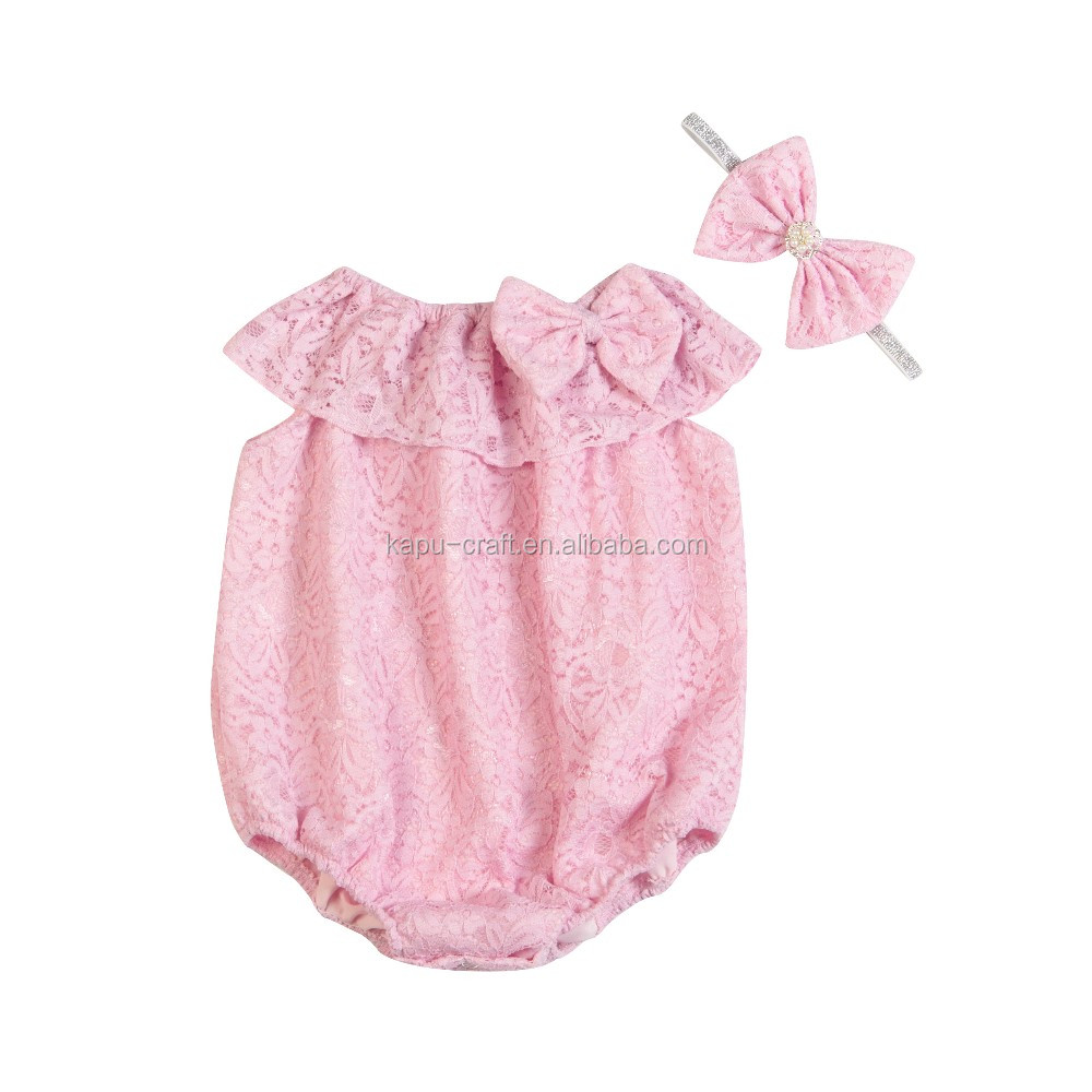 Lace romper Summer new design boutique knitted baby girl clothing romepr comfortable infant and toddler clothing