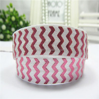 white color pink chevron foil print color fold elastic