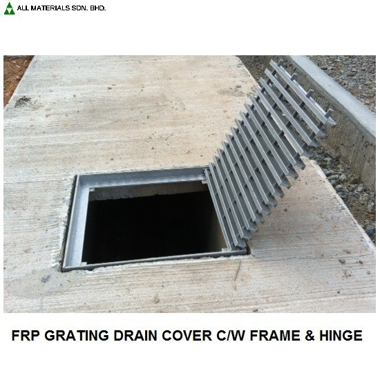 FRP Pultruded Drain Cover Grating c/w Steel L Angle Frame & Hinge
