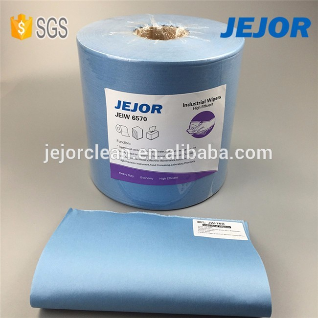 Blue 65Gsm polycellulose nonwoven cleaning wipes roll for industrial