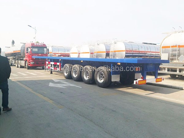 3 Axles 60 Tons High Bed Truck Trailer , Flatbed Port Container Semi Trailer