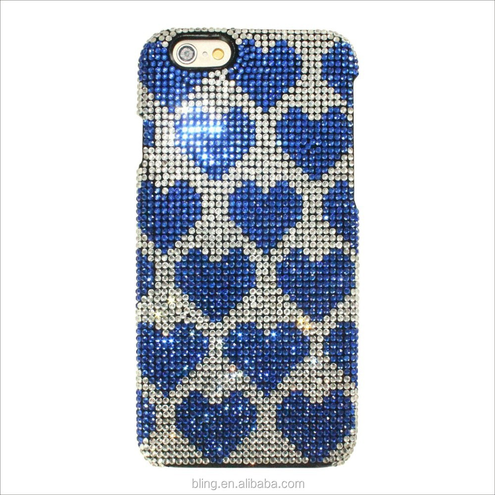 Blue love heart shape Diamond PC hard case For IPhone 6