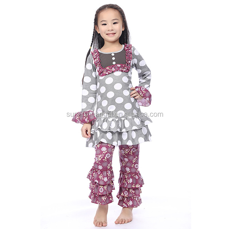 2015 New Girls Boutique Outfits Baby Full Sleeve Ruffle Cotton Winter Clothing Sets Wholesale Kids Clothes