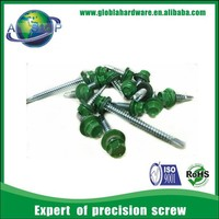 decorative head green paint self drilling roofing screws