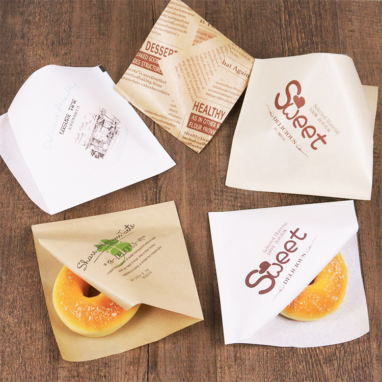 Custom logo printing colored food grade greaseproof disposal french fries hamburger sandwich wrapping paper oil proof packaging