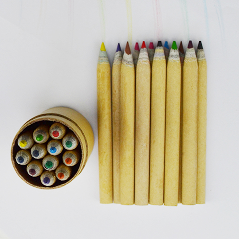 Hot 12pcs color pencil in paper tube 12pcs color pencil set for kids