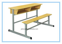 Hot selling double desk with bench chair, school furniture