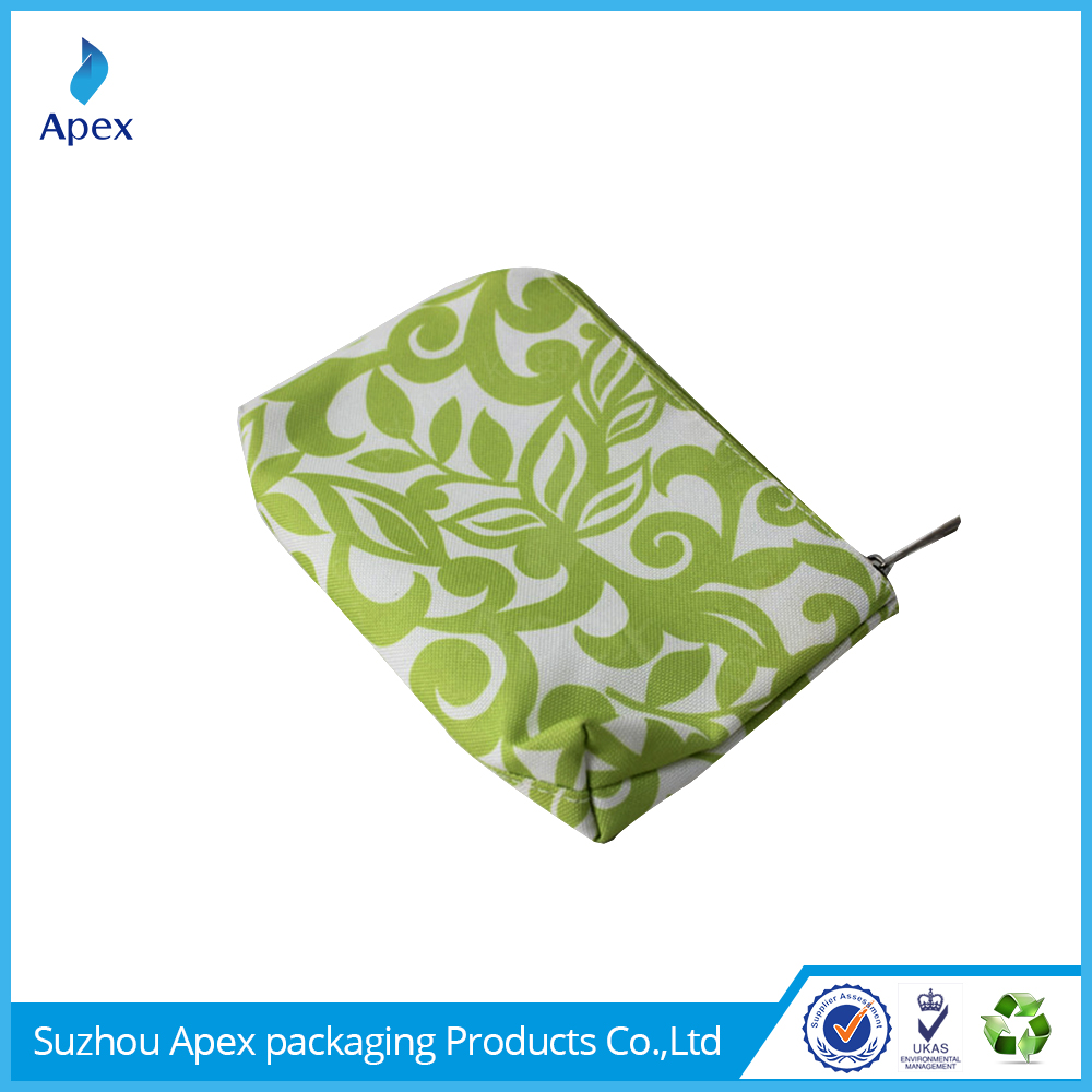 Custom print promotional green cosmetic travel bag
