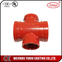 UL and FM Certificates Grooved Pipe Fitting Reducing Cross