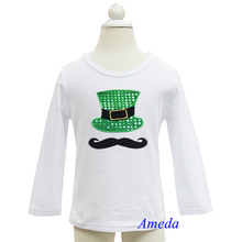 Boys St Patricks Day Bling Green Hat Mustache White Long Sleeves Tee 3M-7Y
