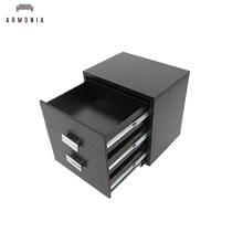 New Design Black Wooden Tabletop Metal Legs Wall Side Cabinet