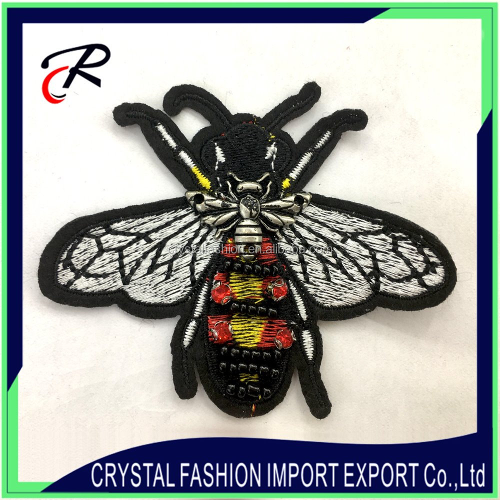 Custom wholesale bee rhinestone embroidered beaded stone applique with mini metal bee