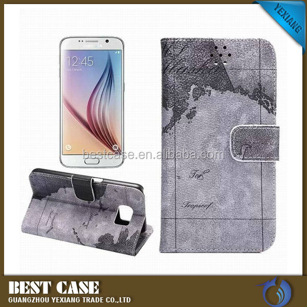 Map Pattern Leather Pouch For Samsung Galaxy S6 G9200 Case