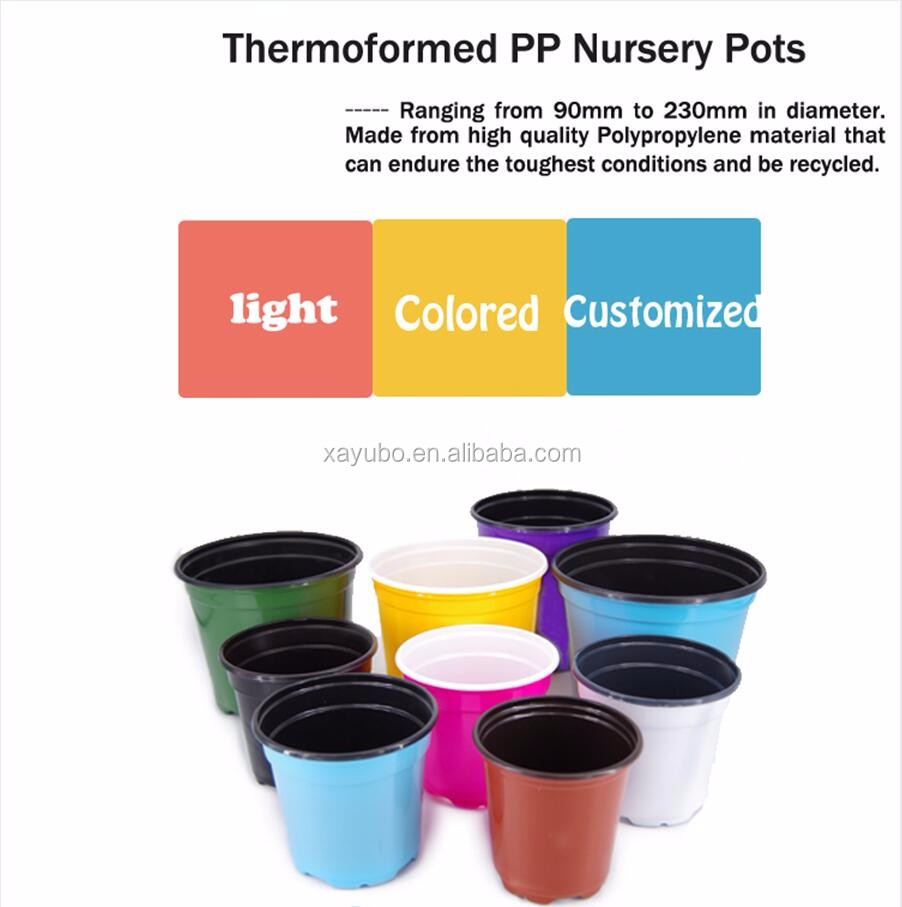 Indoor decorative bright colorful small plastic flower pots for nursery