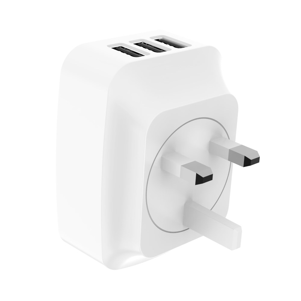 DESKPOW 5V3.4A 3Port UK Plug USB Wall Charger Adapter 3Pin Charging For Android Phone & iOS Phone