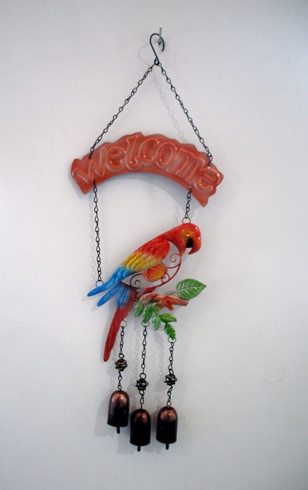 Fun and Festive Tropical Parrot Colorful Hanging Wind Chime for Indoor and Outdoor Decoration