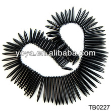 TB0227 Black Howlite Graduated Stick Spike Beads,Black Stone Bullet Beads