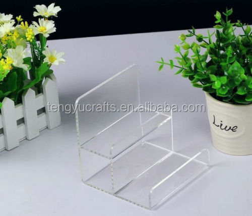 2PCS Clear Acrylic Two-layer Wallet Display Stand Holder Showcase Racks General with base