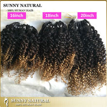 "16"" 18"" 20"" 22"" 24"" 26"" Curly Micro Loop Brazilian Human Hair Ombre Micro Loop Ring Hair Extension"