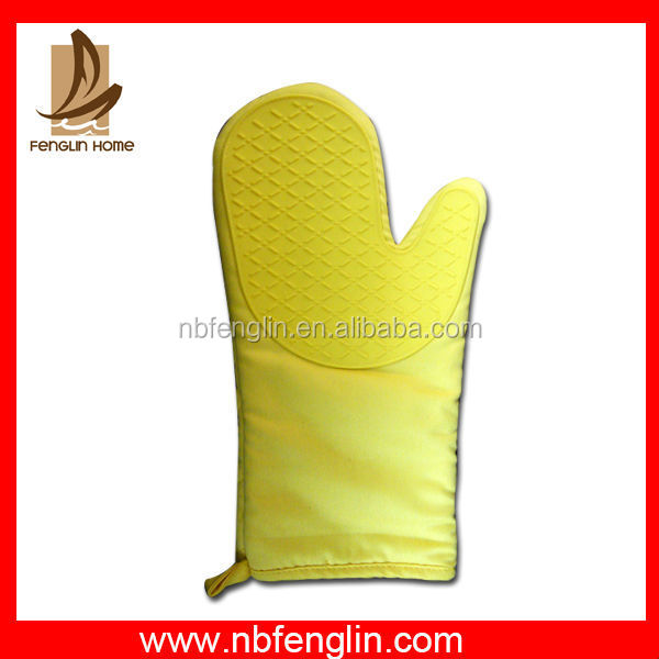China Supplier Yellow Silicone Oven Mitt Safety Glove