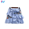 Hot women Short skirt Embroidered Pendulum Skirtw women waist Mini Skirt