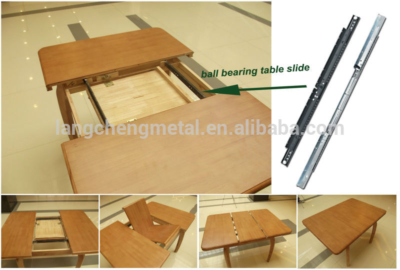 Table extension sychronized slide for sliding top