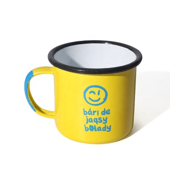 Customized color enamel camping mug with personalized logo printing