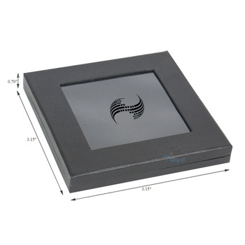 Black jewelry packaging with transparent lid