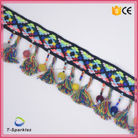 Fashion Colorful Pom Pom Tassel Trim with Beads For Spring Dress