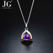 Wholesale 925 Sterling Silver Geometric Triangle Design Natural Amethyst Crystal Stone Pendant Necklace Jewelry Gold Plated
