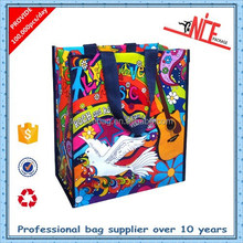 custom recycled printed zipper pp woven shopping bag