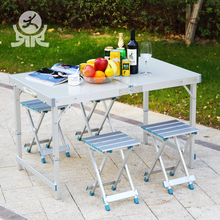 Modern garden furniture picnic aluminium metal adjustable height legs one piece folding foldable table and chairs set