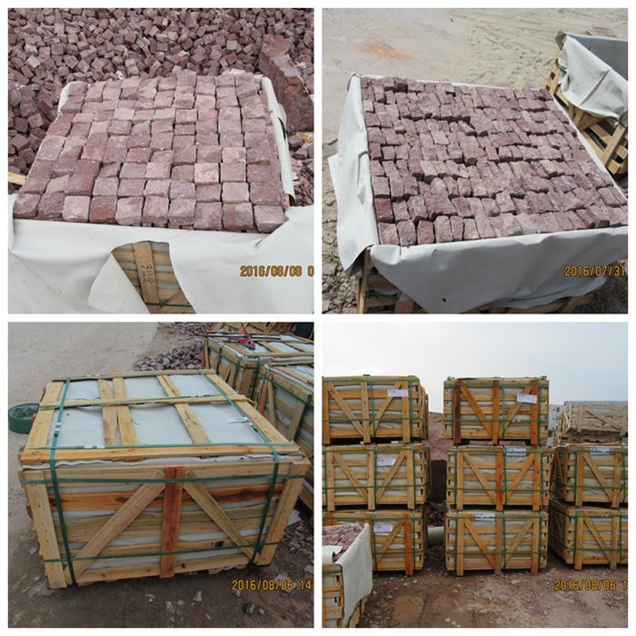 China Red Porphyry Granite Cobblestone Pavers