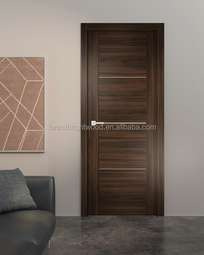 MDF panel customized design engineered Veneered entry door rustic wood