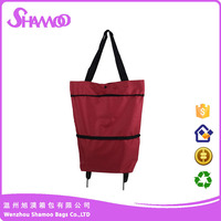 New product 600D foldable polyester trolley shopping bag
