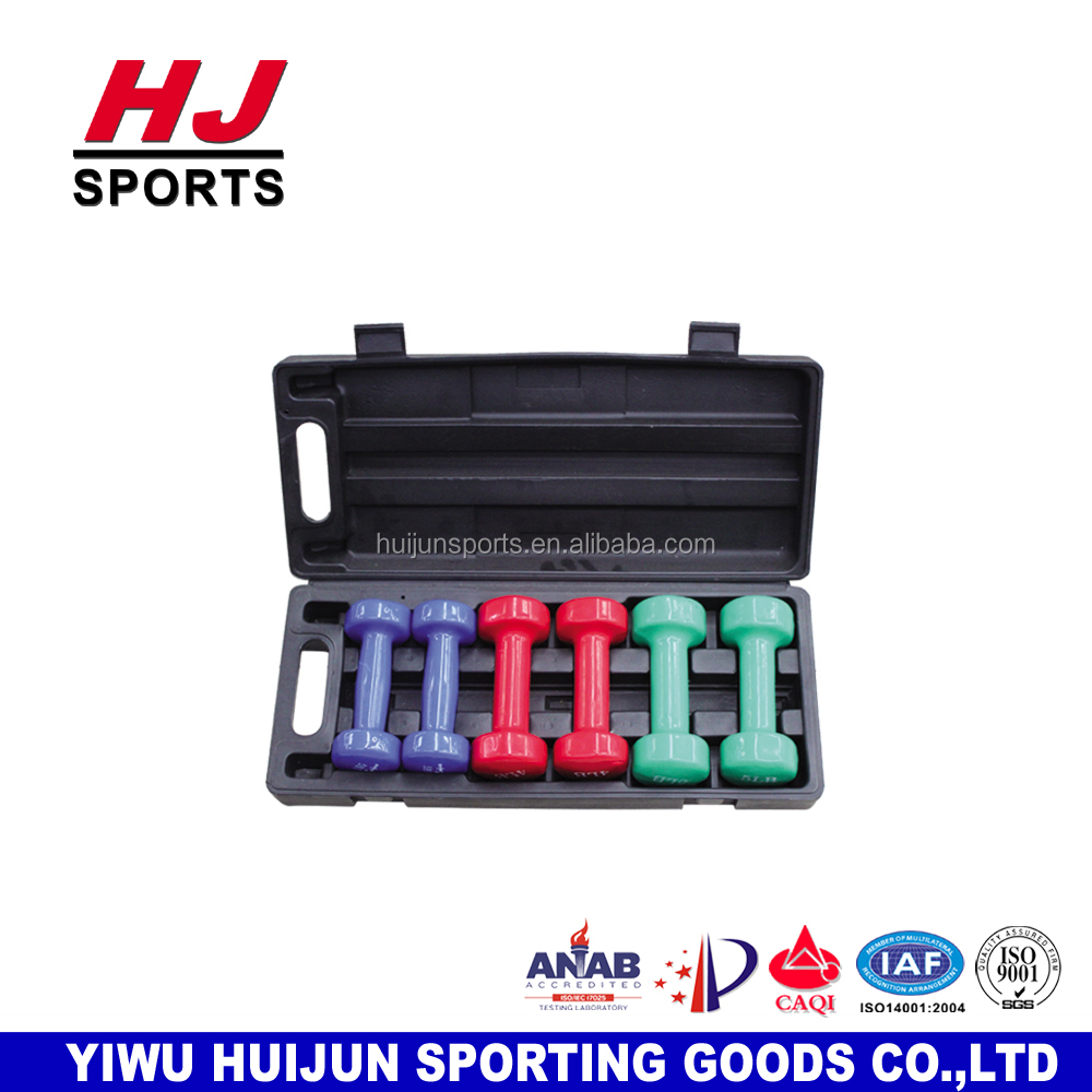 HJ-A008B 24LB Coated Weight Fitness Vinyl Dumbbells Neoprene Dipping Dumbbell Set