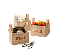wholesale square shape mini jute storage bags
